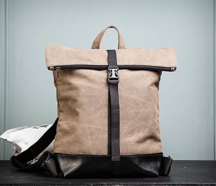 BAG460-2 Мужской городской рюкзак из текстиля коричневого цвета фото 01