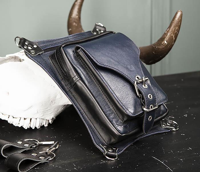 BAG369-5 Мужская набедренная сумка из кожи черного и синего цветов фото 03