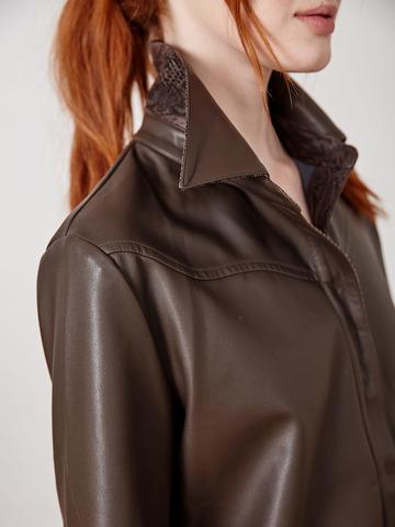 Рубашка эко кожа т. коричневая