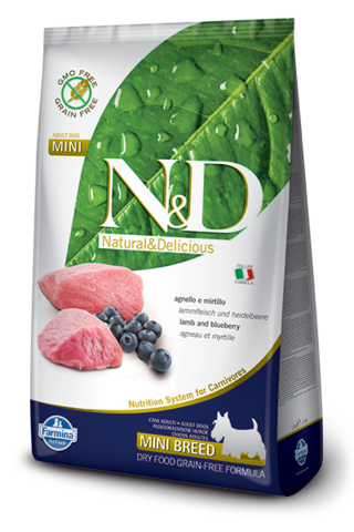 Сухой беззерновой корм Farmina N&D Grain Free Lamb&Blueberry Adult Dog Mini