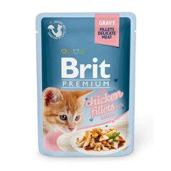 Brit Premium 82% мяса Пауч для котят GRAVY Chiсken fillets for kitten Кусочки из кур.филе в соусе 85 г