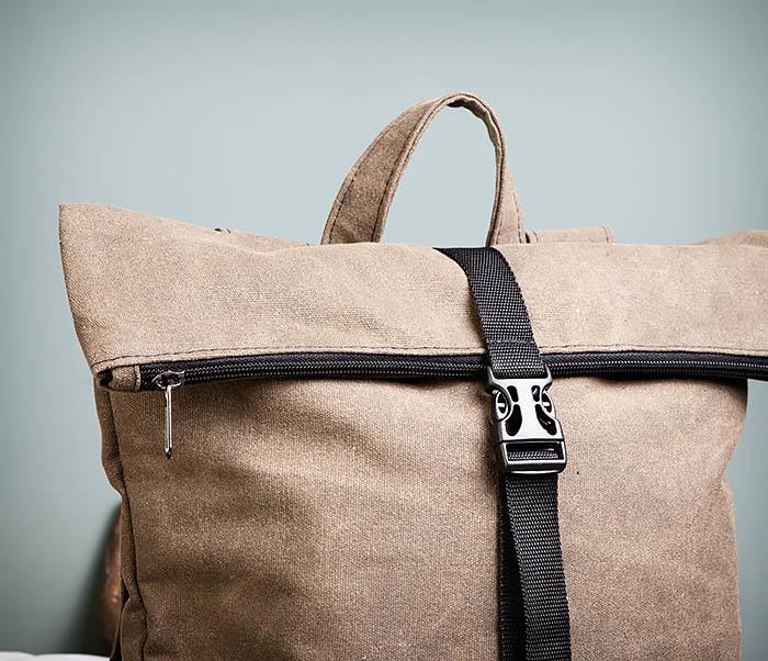 BAG460-2 Мужской городской рюкзак из текстиля коричневого цвета фото 02