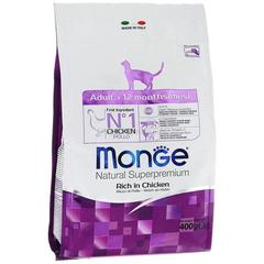 Monge Natural Superpremium Cat Adult полноценный корм для взрослых кошек с курицей и рисом 400гр
