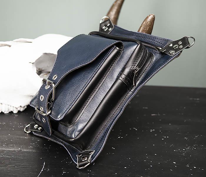 BAG369-5 Мужская набедренная сумка из кожи черного и синего цветов фото 04