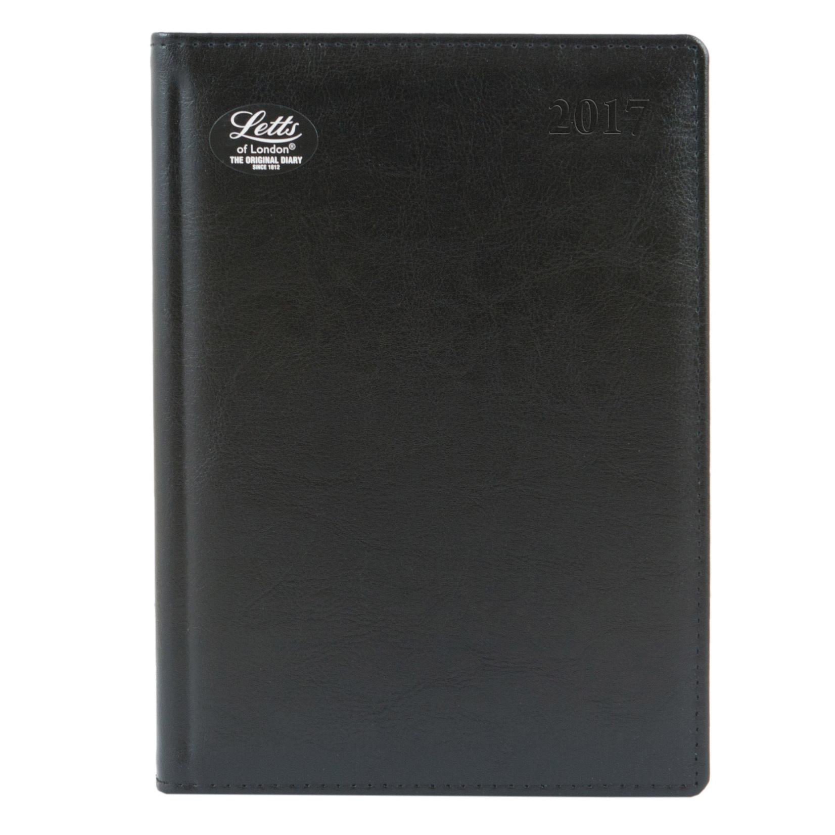Ежедневник Letts Global Deluxe 2017, A5 (148 х 210), черный, натур.кожа, срез позолоченный