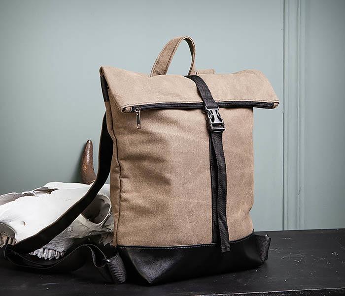 BAG460-2 Мужской городской рюкзак из текстиля коричневого цвета фото 03