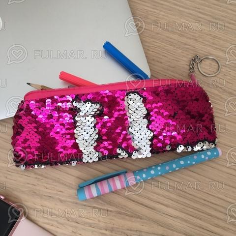 Пенал с пайетками мини для девочек меняет цвет Малиново-Серебристый