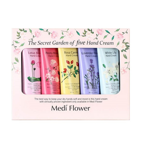 Набор подарочный кремов для рук Цветочный сад Medi Flower The Secret Garden of Five Hand Cream Set 5x50г