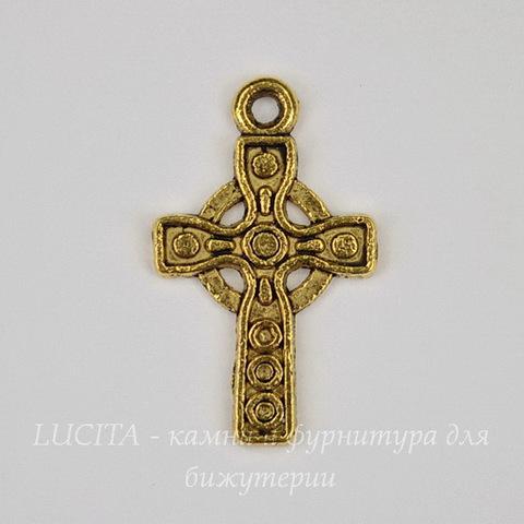 """Подвеска """"Кельтский крест"""" (цвет - античное золото) 26х16 мм"""