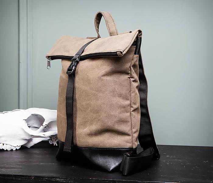 BAG460-2 Мужской городской рюкзак из текстиля коричневого цвета фото 04