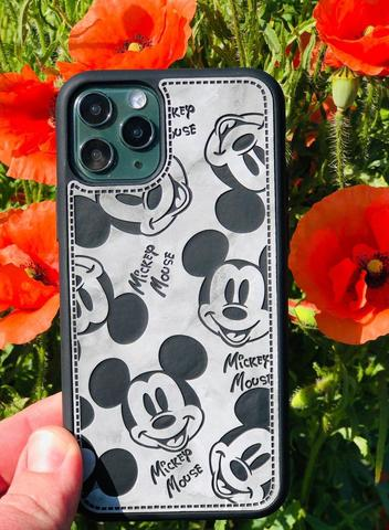 Чехол iPhone X/XS Mickey Mouse Leather vintage /black/