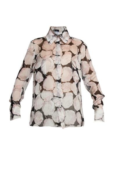 Изысканная шелковая рубашка с цветочным принтом от Chanel, 36 размер