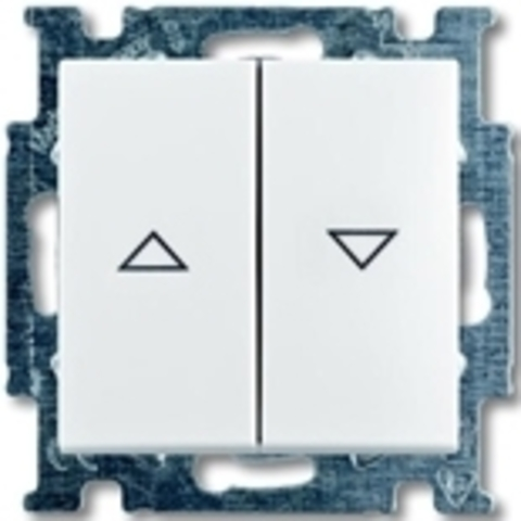 Выключатель для жалюзи, с механической блокировкой, с фиксацией. Цвет белый. ABB Basic 55. 1012-0-2140