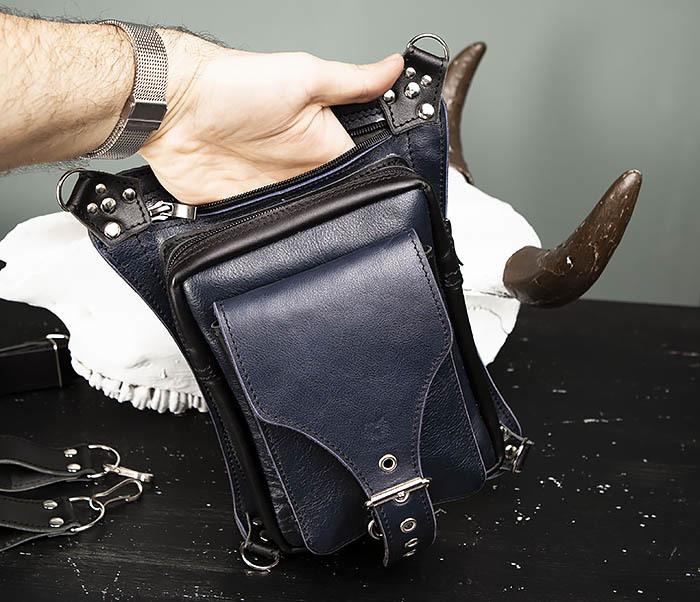 BAG369-5 Мужская набедренная сумка из кожи черного и синего цветов фото 07