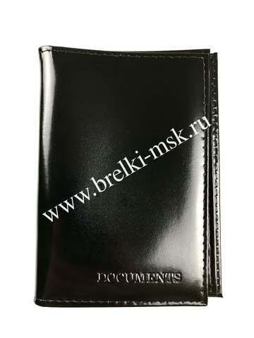 Обложка 2в1 для автодокументов и паспорта из натуральной гладкой кожи. Цвет Черный