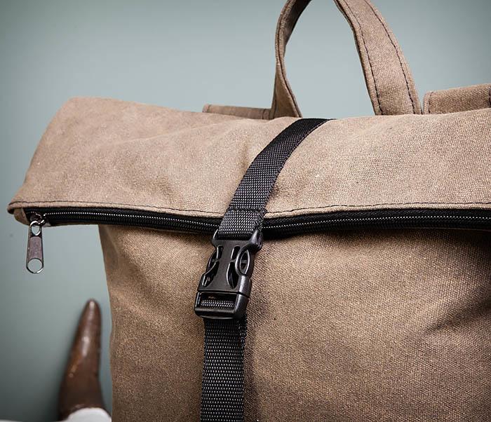BAG460-2 Мужской городской рюкзак из текстиля коричневого цвета фото 06