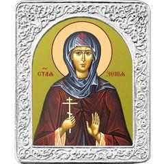 Святая Ксения. Маленькая икона в серебряной раме.