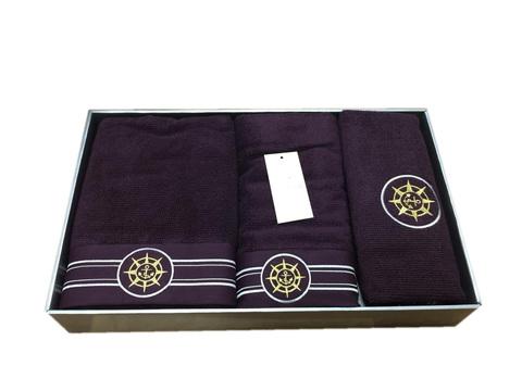 Набор полотенец  ELEGANGE - ЭЛЕГАНЗ  с ковриком бордовый Maison Dor (Турция)