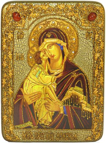 Инкрустированная икона Донская Пресвятая Богородица 29х21см на натуральном дереве, в подарочной коробке