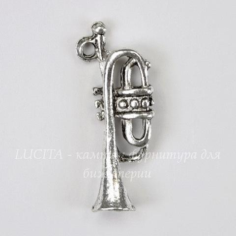 """Подвеска """"Музыкальная труба"""" (цвет - античное серебро) 22х8 мм"""