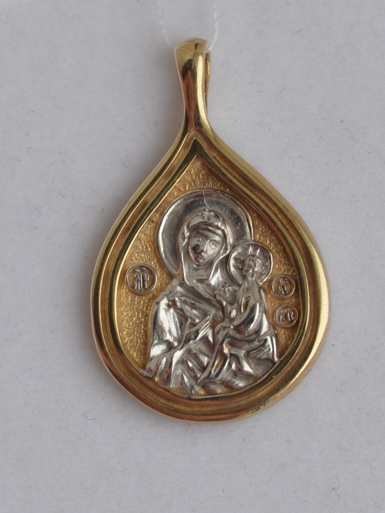 Тихвинская Божья Матерь (кулон с позолотой из серебра)