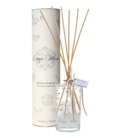 Диффузор-ароматизатор с палочками в подарочной упаковке Белое белье, Amelie et Melanie