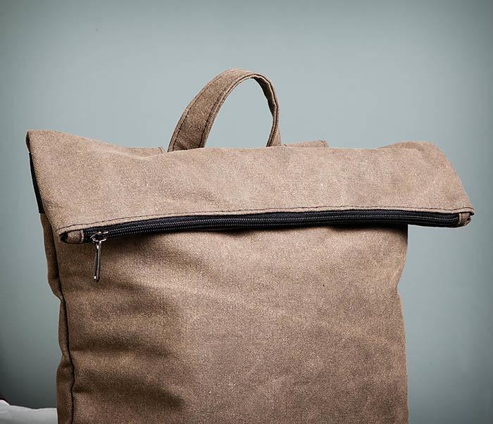 BAG460-2 Мужской городской рюкзак из текстиля коричневого цвета фото 09
