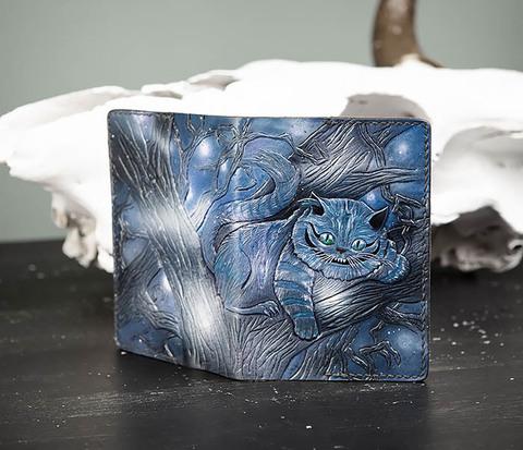 Кожаная обложка «Чеширский Кот» ручной работы