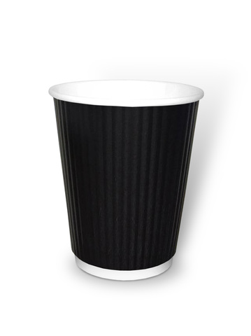 Стакан бумажный 2сл 450 (490) мл d=80мм черн., гофр.,вертикаль