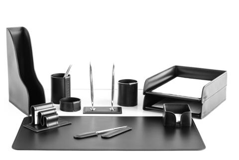 Настольный набор 11 предметов из кожи цвет черный №28