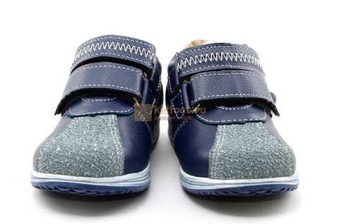 Ботинки для мальчиков Лель (LEL) из натуральной кожи на липучках цвет синий. Изображение 5 из 16.