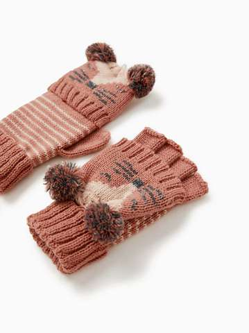 Перчатки-варежки с принтом «Мордочка»
