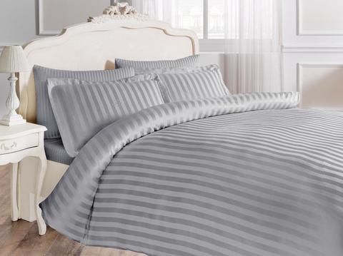Постельное белье NEW JAQUARD серый жаккард  deluxe TIVOLYO HOME Турция