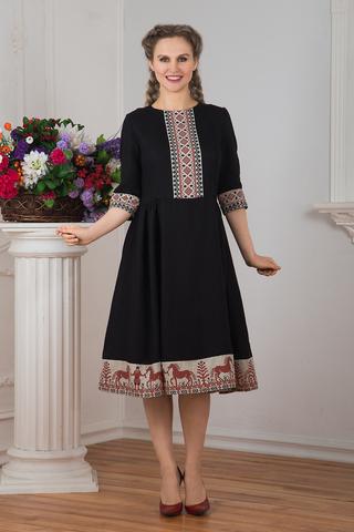 Платье льняное Чистое поле миди Кони