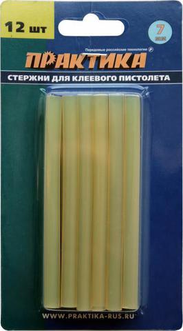 Клей для клеевого пистолета ПРАКТИКА желтый, прозрачный,  7 х 100 мм, 12шт. (641-626)