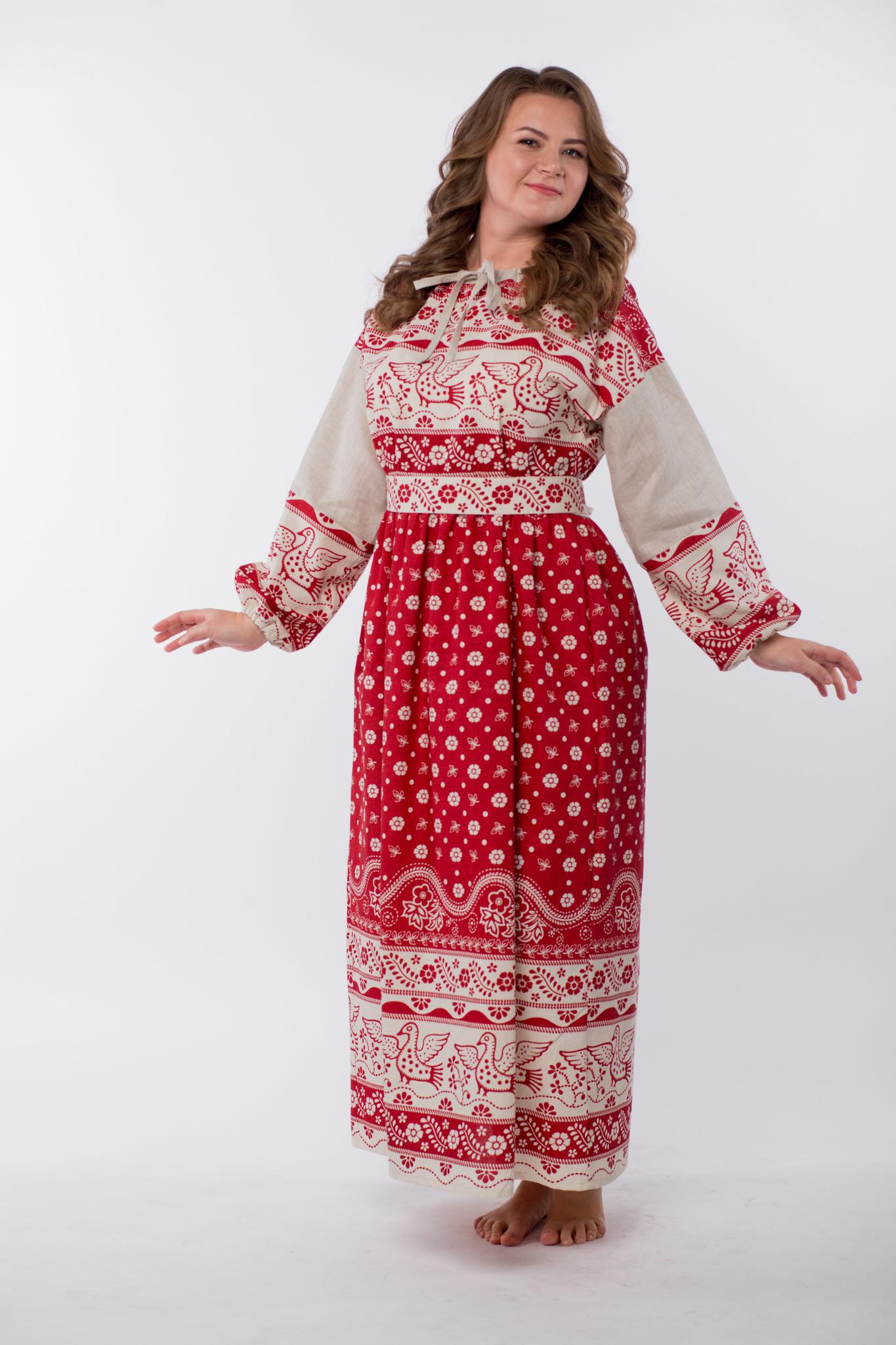 Платье льняное Певчее размер 50-52 полубоком
