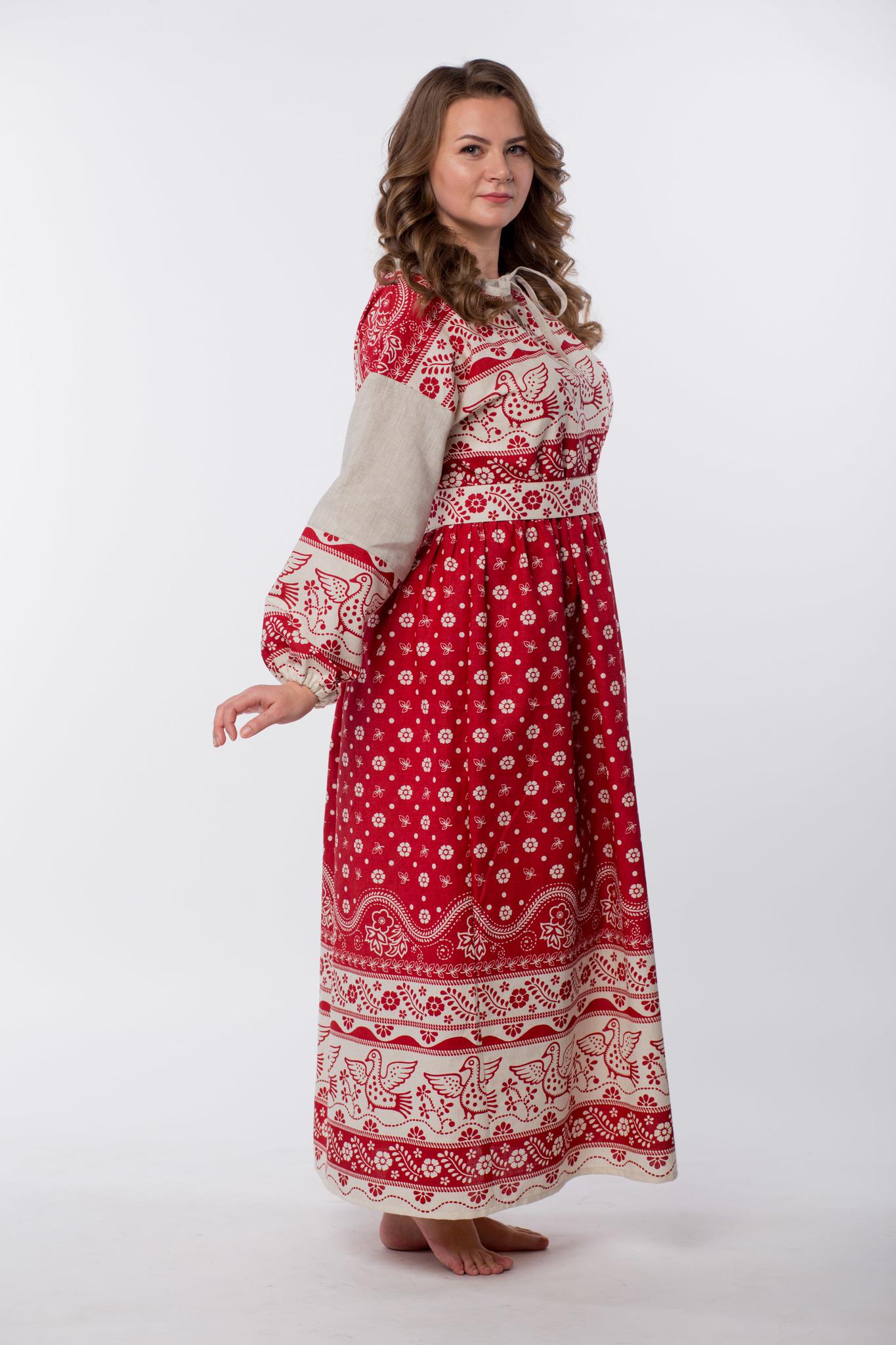 Платье льняное Певчее размер 50-52 вид сбоку