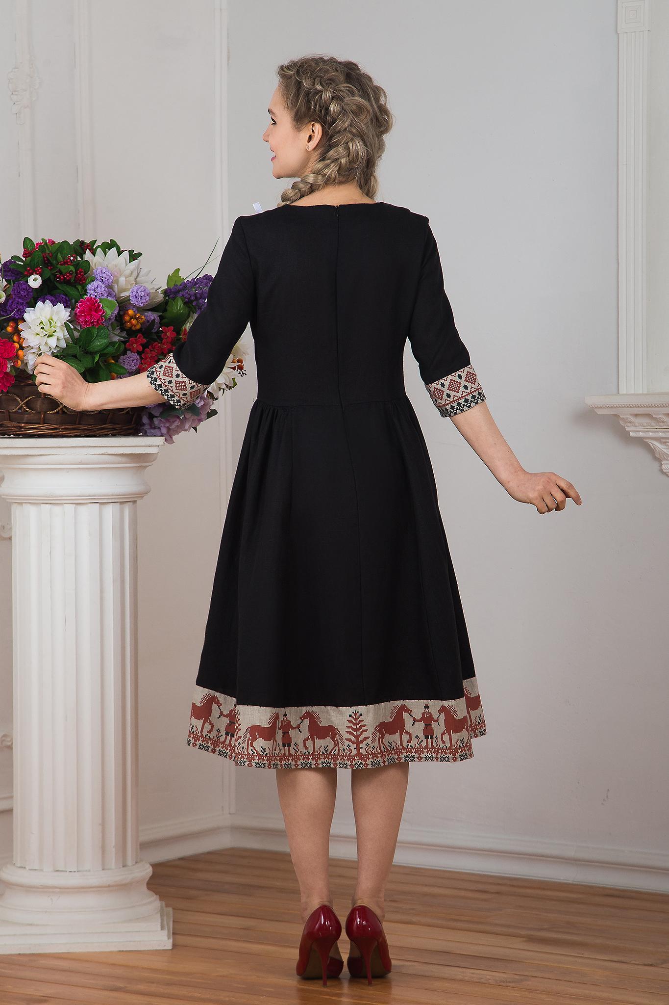 Платье льняное Чистое поле миди Кони вид сзади