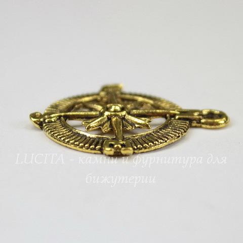 "Подвеска ""Компас"" (цвет - античное золото) 30х25 мм"