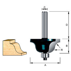 Фреза кромочная фасонная(S-образная) 23,53*32*10*6 мм; R=2,5 мм