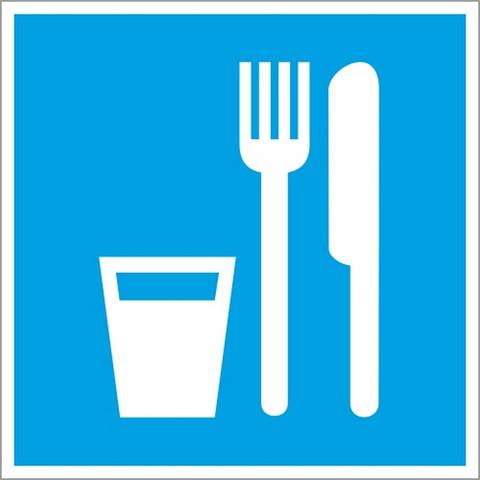 Знак безопасности D01 Пункт (место) приёма пищи (плёнка,200х200)