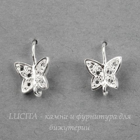 """Швензы - крючки """"Бабочки"""", 20х8 мм (цвет - серебро), пара"""