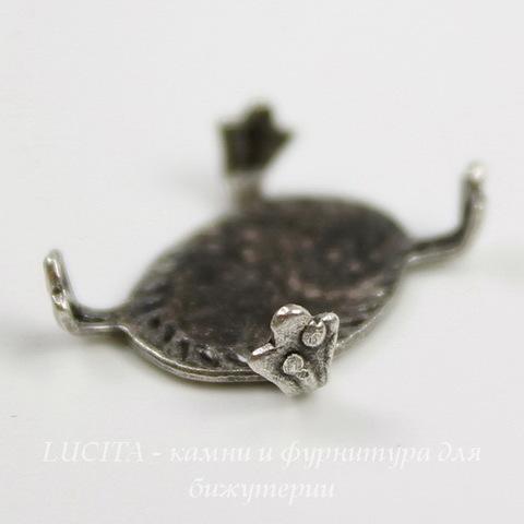 """Сеттинг - основа """"Черепашка"""" для камеи или кабошона 14х10 мм (оксид серебра) ()"""