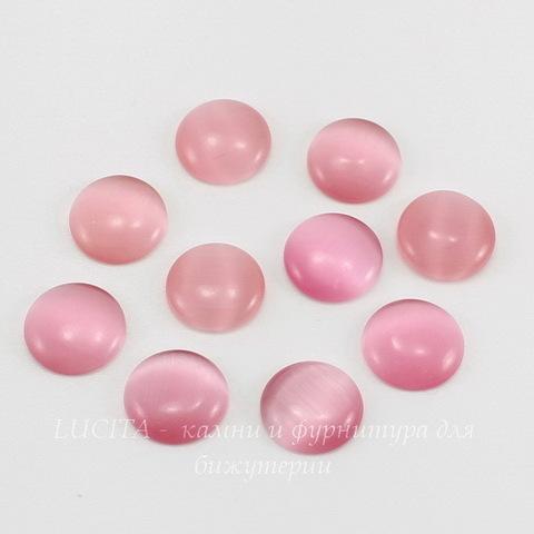 Кабошон круглый Кошачий глаз розовый, 14 мм ()