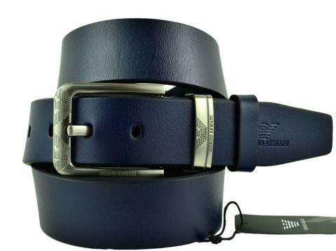 Ремень мужской джинсовый брендовый тёмно-синий кожаный 40 мм Armani (копия) 40brend-KZ-222