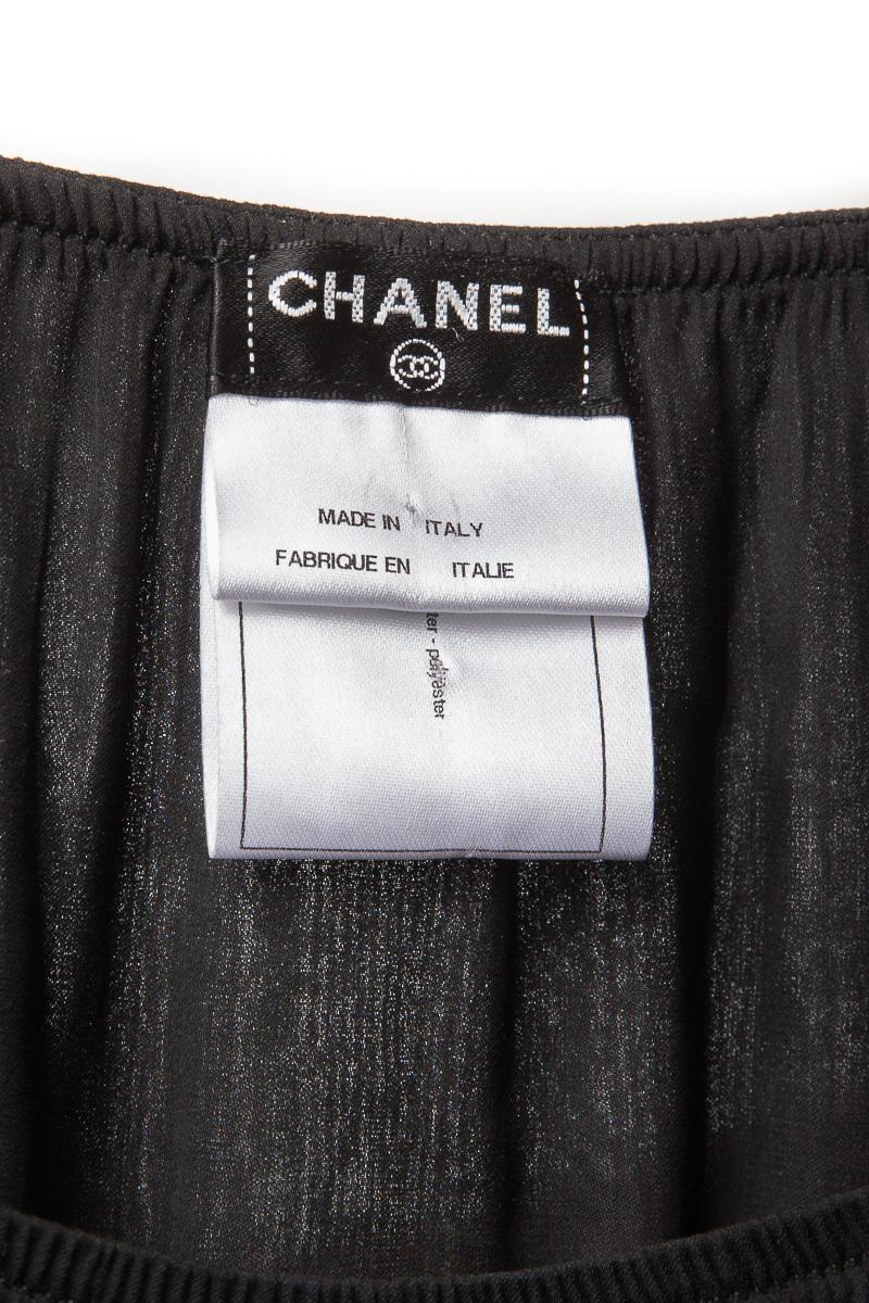 Изящный топ из шелка черного цвета от Chanel, 36 размер.