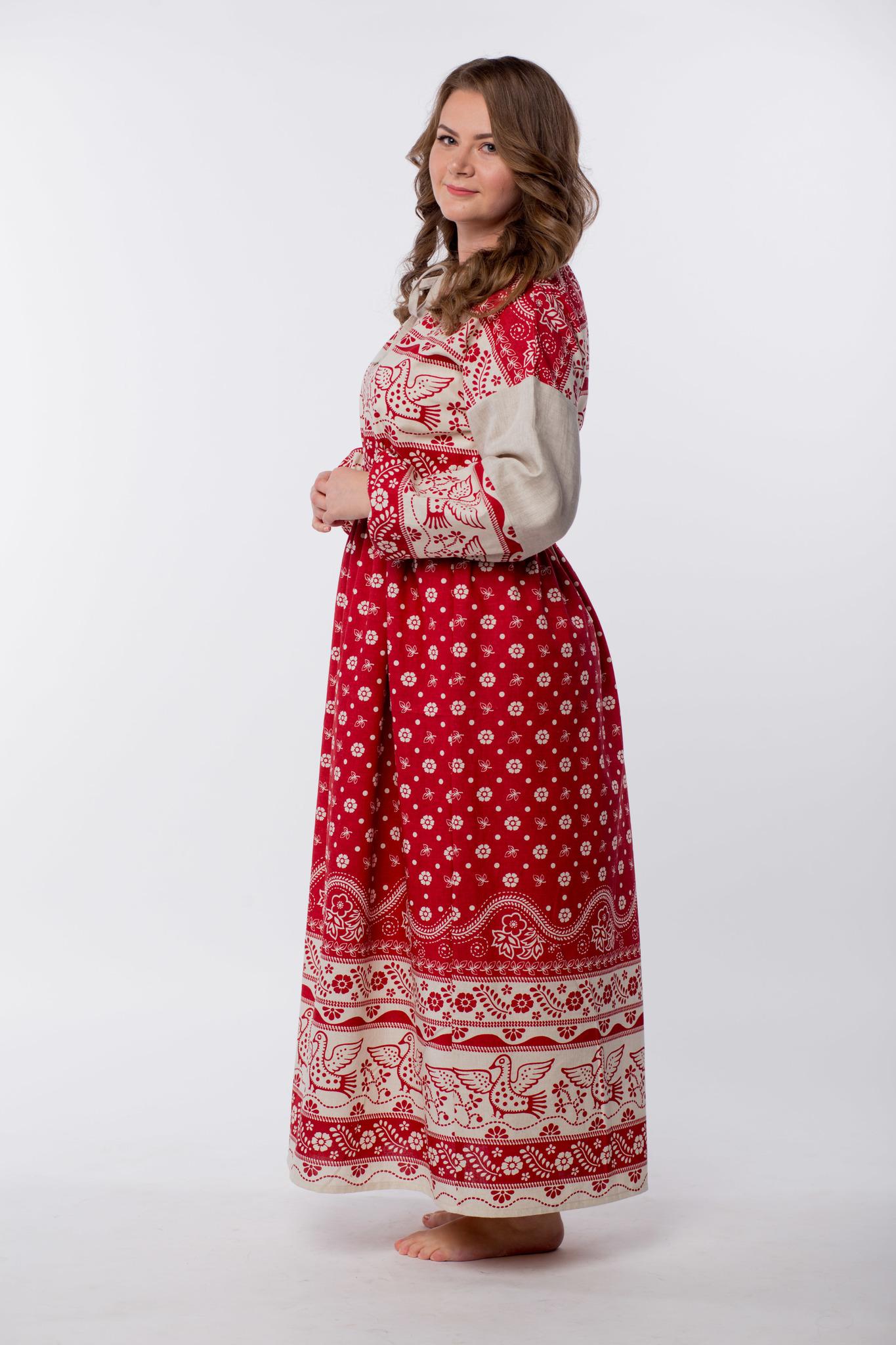 Славянское платье Певчее из льна размер 50-52