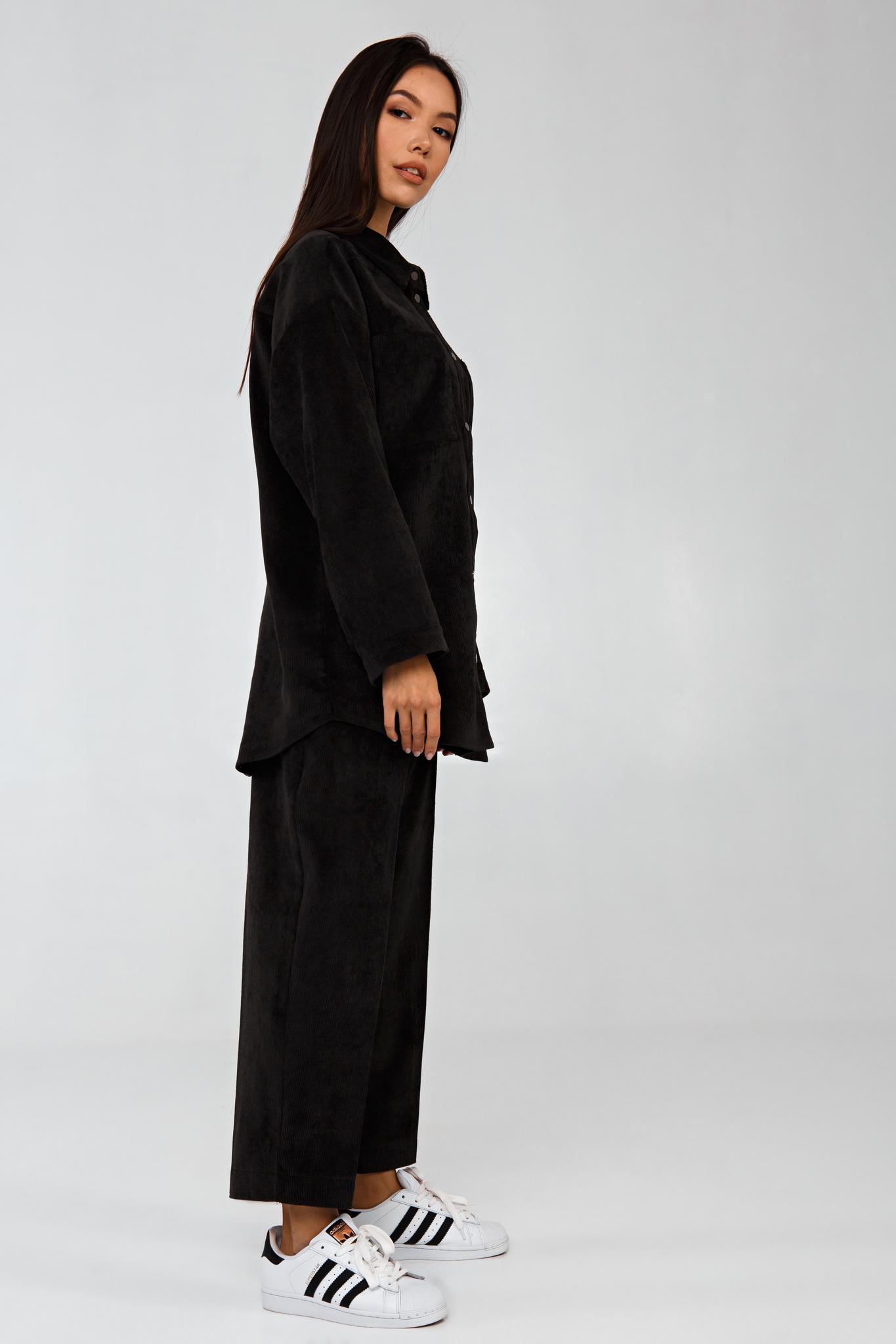 Вельветовый костюм в рубчик графит YOS