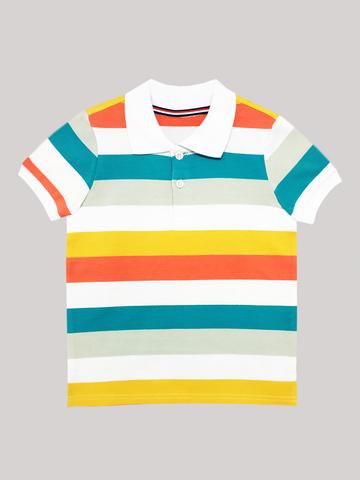 Футболка-поло (белый, оранжевый, зеленый)
