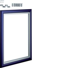 Дверца со сменной вставкой (иллюстративная, зеркальная) для встраиваемого Volta,2-рядного, синяя